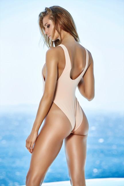 Tan Tie V-neck Swimsuit