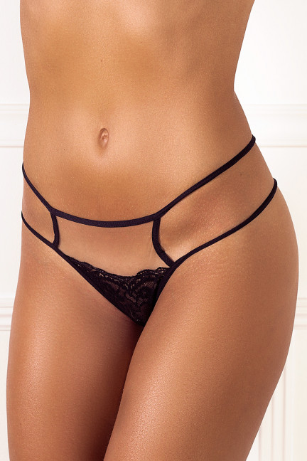 Black Peekaboo Flower Thong