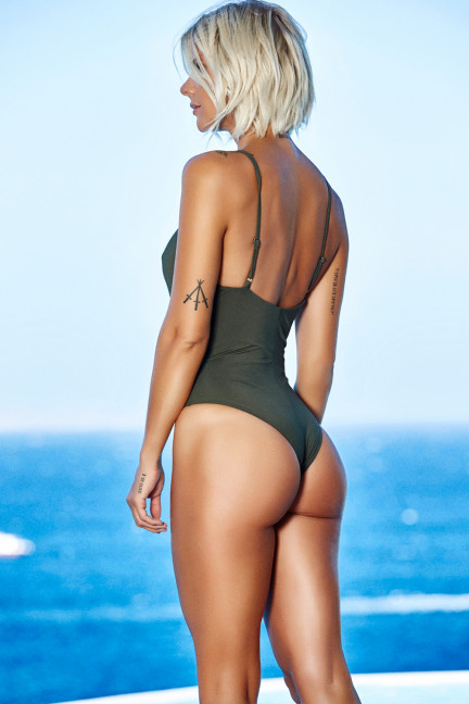 Green Front Cage Swimsuit