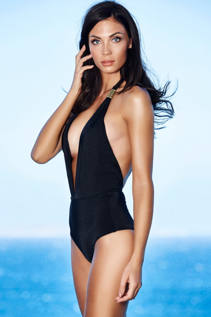 Black Deep Plunge One Piece