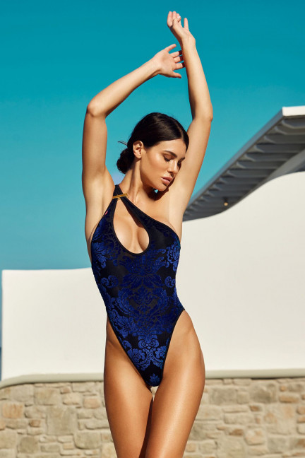 Royal Blue Velvet Asymmetric One Piece