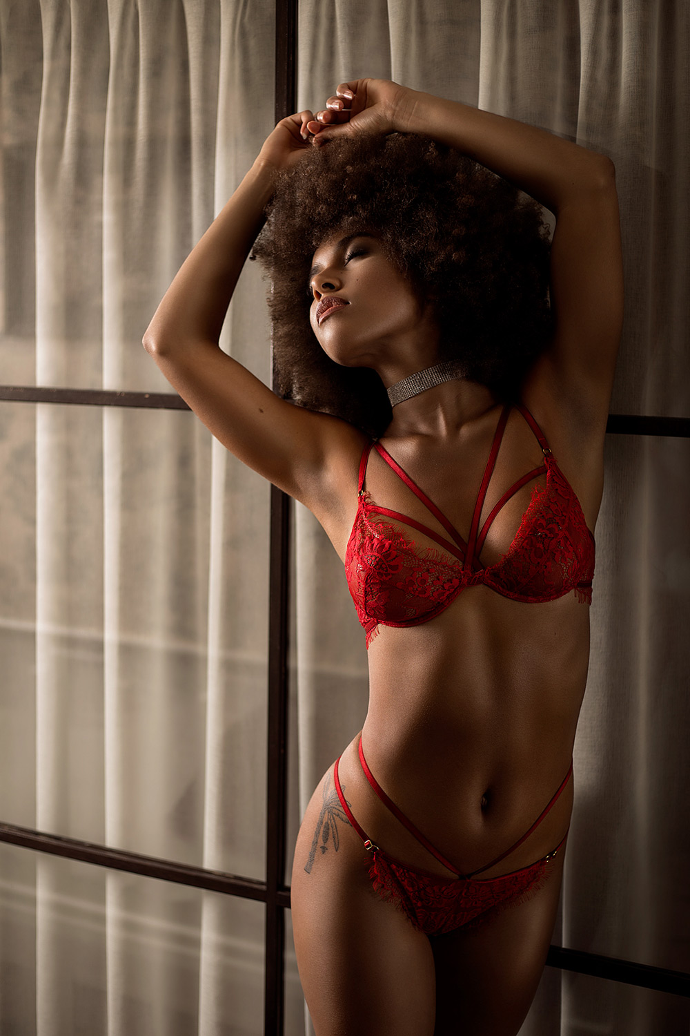 Tigelle - Gothenburg photoshoot, Pigalle | Red French Lace Set